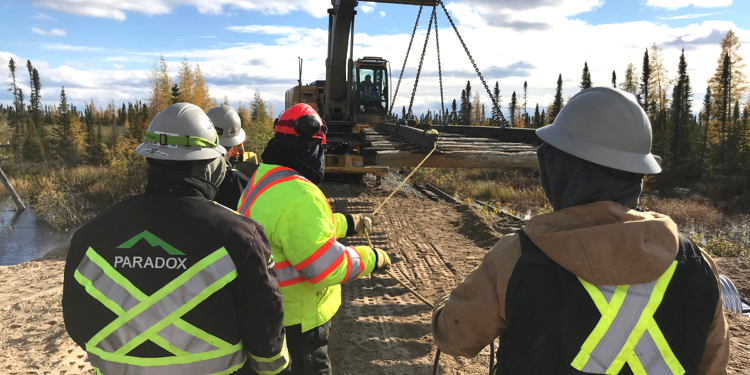 Paradox Access Solutions labourers repair the Hudson Bay Rail Line