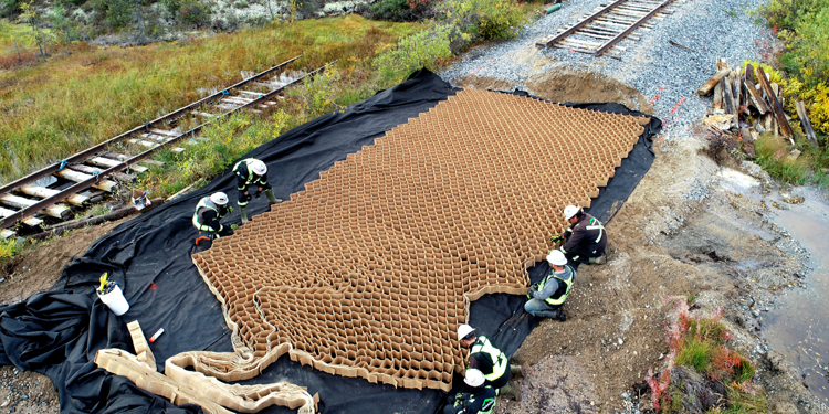 Tough Cell geocells help create solid foundations for the Hudson Bay Rail Line repairs